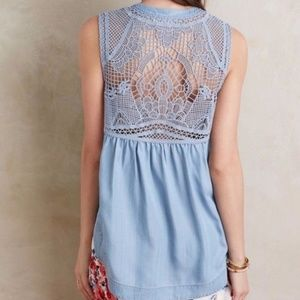 Holding Horses Crochet Back Chambray Blouse